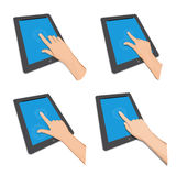Ipad finger touch. New Apple iPad portable computer tablet in eps vector Royalty Free Stock Images