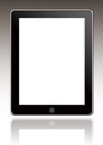 Ipad. An isolated black ipad on gradient background stock image