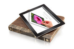 Ipad on leather case - clipping path. Ipad on leather case with clipping path Stock Images