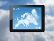 Ipad with map of Europe made of clouds Royalty Free Stock Photo