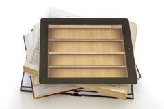 Ipad 3 mit Buchanwendung auf geöffneten Büchern stockfotografie