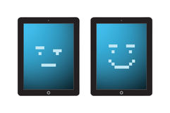Ipad with pixel faces Royalty Free Stock Image