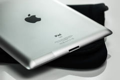 IPad resting on a soft carry case Stock Image