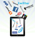Ipad and social network logos. Social and other logos and icons collection in ipad Stock Photos