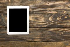 Ipad. Table pad white top view isolated screen media royalty free stock photo