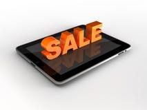 iPad. Tablet PC mit dem VERKAUFS-Text, der auf Weiß getrennt wird Lizenzfreie Stockfotos