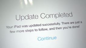 IPad tablet update completed stock video footage
