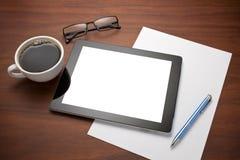 Ipad Tablette-Arbeitsplatz-Schreibtisch stockfotografie
