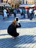 Ipad, Travel Photos With Modern Technology, Prague Royalty Free Stock Photography