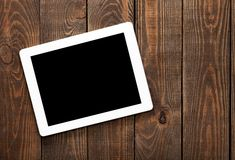 Ipad. Wood mac black pc table nobody stock images