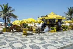 Ipanema木板走道的里约热内卢巴西海滩报亭 免版税库存图片