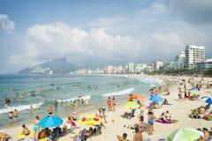 Ipanema海滩里约热内卢早晨视图 免版税库存照片