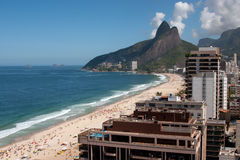 Ipanema beach. Ipanema and Leblon beaches, seen from above, with people on the sands Stock Photo