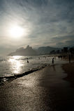 Sunset on Ipanema Beach in Rio de Janeiro. Sunset in Ipanema beach in Rio de Janeiro, Brazil Stock Images
