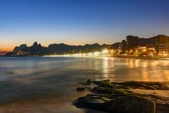 Ipanema beach with beautiful skyline and sunset. Royalty Free Stock Photography