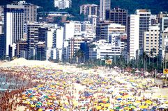 Ipanema beach & city during carnival stock image