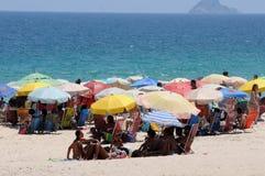 Ipanema beach on the first day of summer. Rio de Janeiro - Brazil, , people playing on Ipanema beach on the first day of summer in Brazil royalty free stock photo