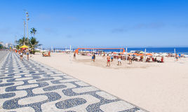 Ipanema beach with mosaic of sidewalk in Rio de Janeiro Royalty Free Stock Photography