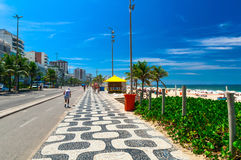Ipanema beach with mosaic of sidewalk in Rio de Janeiro Royalty Free Stock Photos