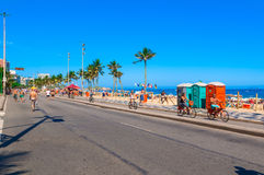 Ipanema beach with mosaic of sidewalk in Rio de Janeiro Royalty Free Stock Images
