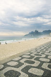 Ipanema Beach Rio de Janeiro Boardwalk with Two Brothers Mountain Royalty Free Stock Photo