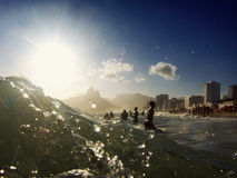 Ipanema Beach Rio de Janeiro Brazil Surf Waves Royalty Free Stock Images