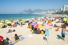 Ipanema Beach Rio de Janeiro Crowded Morning View Stock Images