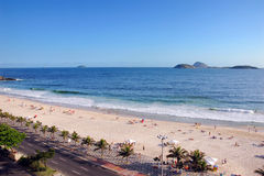 Ipanema Beach in Rio De Janeiro. Looking down across the Avenue Vieira Souta at Ipanema Beach Royalty Free Stock Photos