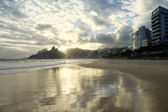 Ipanema Beach Rio de Janeiro Scenic Sunset Reflection Royalty Free Stock Photography