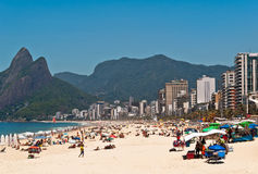 Ipanema Beach on the Sunny Summer Day Stock Photos