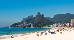 Ipanema Beach on the Sunny Summer Day. Rio de Janeiro, Brazil Royalty Free Stock Photo
