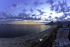 Ipanema Beach sunset Royalty Free Stock Images