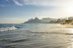 Ipanema beach. Sunset on the beach in Ipanema, Rio de Janeiro Stock Photography