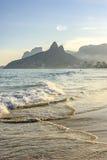 Ipanema beach. Sunset on the beach in Ipanema, Rio de Janeiro Stock Photos