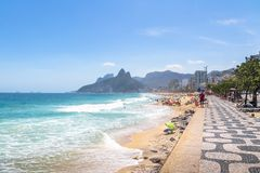 Ipanema Beach and Two Brothers Mountain - Rio de Janeiro, Brazil stock images
