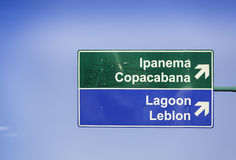 Ipanema direction road sign. In Rio de Janeiro Stock Images