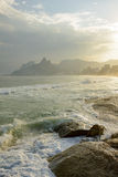 Ipanema, Leblon and Arpoador beaches. During seen the sunset of Rio de Janeiro with the Two Brothers hill and Gavea stone in the background Stock Photo