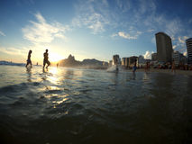 Ipanema plaży Rio De Janeiro Brazylia sylwetki Fotografia Royalty Free