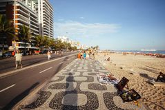 Ipanema's walkway royalty free stock photo
