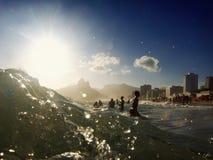 Ipanema strand Rio de Janeiro Brazil Surf Waves Royaltyfria Bilder