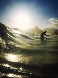 Ipanema strand Rio de Janeiro Brazil Surf Waves Arkivfoto