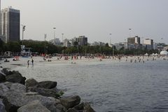 Ipanema Strand und Atlantik in Rio de Janeiro Lizenzfreies Stockbild