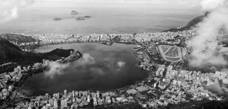 Ipanema view from Corcovado black and white Royalty Free Stock Photos