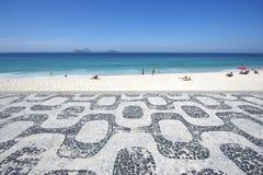 Ipanemastrand Rio de Janeiro Boardwalk Sea View Stock Foto's
