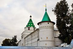 Ipatevsky monastery in Kostroma, Russia. Autumn trees Royalty Free Stock Photography
