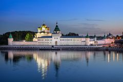 Ipatiev Monastery reflecting in water at dusk, Kostroma Stock Images