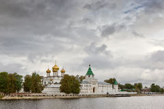 Ipatievsky monastery from Volga river. View to the Ipatievsky monastery from Volga river under heavy clouds, Kostroma, Russian Federation Royalty Free Stock Images