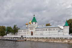 Ipatievsky monastery from Volga river. View to the Ipatievsky monastery from Volga river under heavy clouds, Kostroma, Russian Federation Stock Image