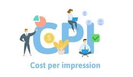 IPC, costo per impressione Concetto con le parole chiavi, le lettere e le icone Illustrazione piana di vettore Isolato su bianco illustrazione vettoriale