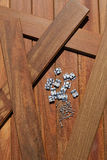 Ipe deck wood installation screws clips fasteners Royalty Free Stock Photography